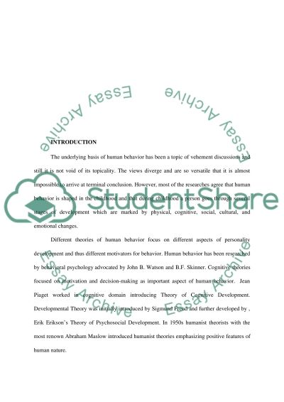 Theories of Human Behavior Research Paper Research Paper example