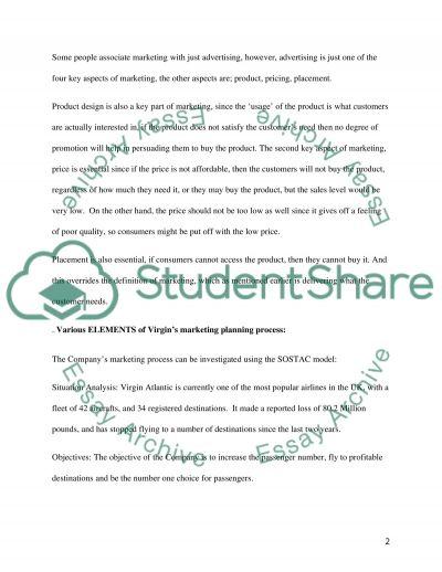 Marketing Principles of Virgin Atlantic Assignment example