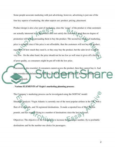 Marketing Principles of Virgin Atlantic essay example