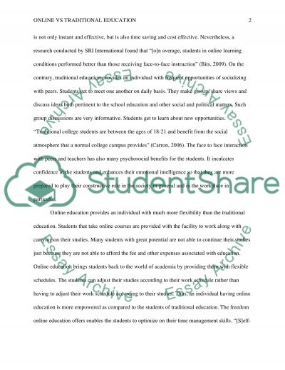 Online vs Traditional Education essay example
