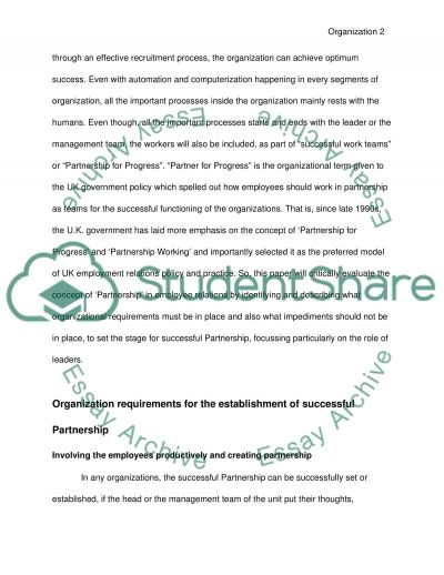Partnership among employees Essay example