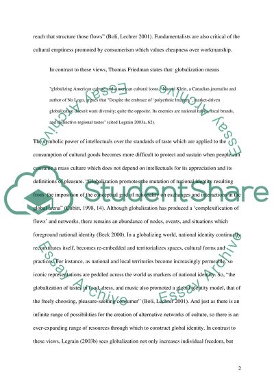 Globalization Of Culture Essay Example  Topics And Well Written  Globalization Of Culture Essay For Health also Should Condoms Be Available In High School Essay  Essay About Healthy Lifestyle