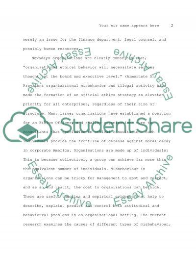 Organizational Misbehavior essay example
