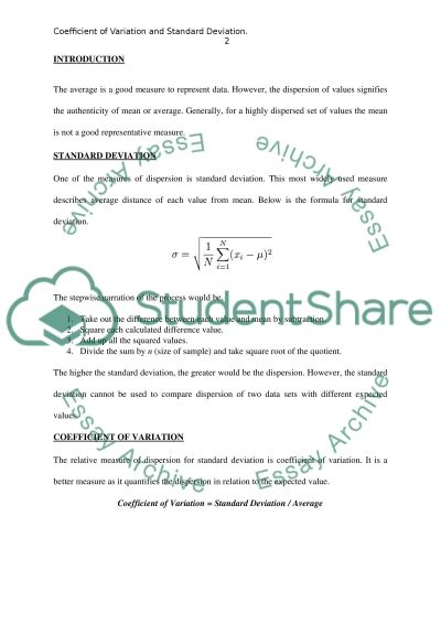 Coefficient of Variation and Standard Deviation essay example