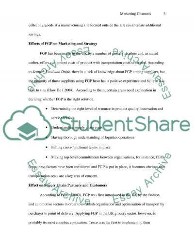 Marketing Channels essay example