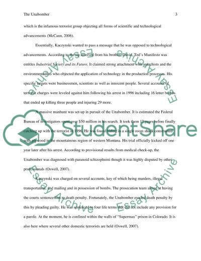 Unit VI project domestic terrorism essay example