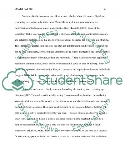 Smart Fabric essay example