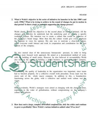 Jack Welshs Leadership essay example