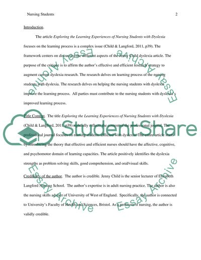 Critique essay of 2000 words on this journal article Exploring the learning experiences of nursing students with dyslexia