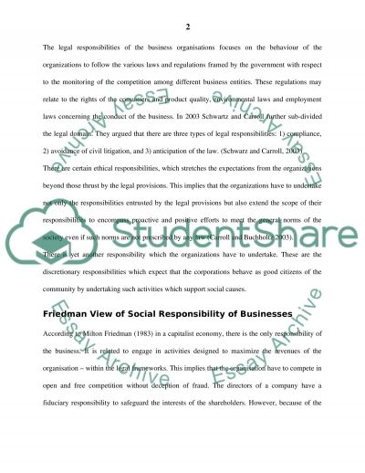 Corporate soical responsibility CSR essay example