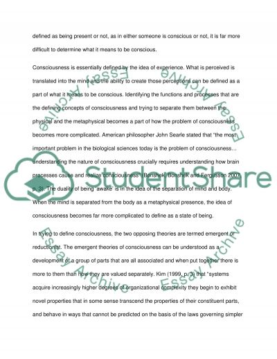 Is consciousness a strongly emergent property essay example