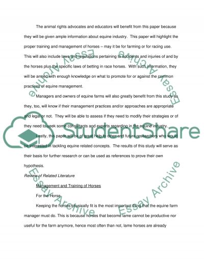 Horse Industry and Equine Law essay example