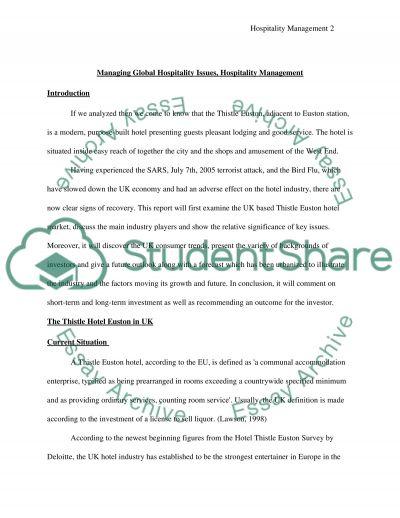 Hospitality Management Case Study essay example