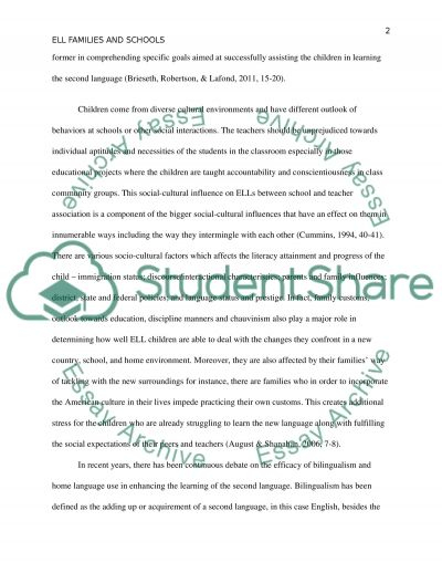 ELL Families and Schools essay example