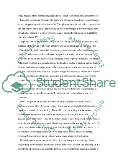 Sexual images in advertising essay example