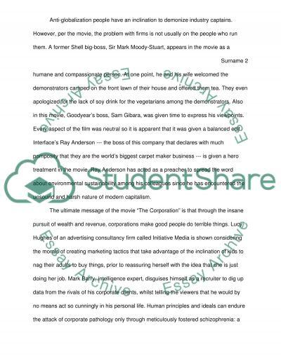 Movie The Corporation essay example