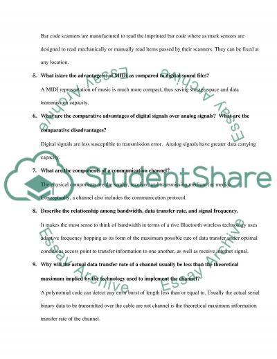 Computer Questions Final essay example