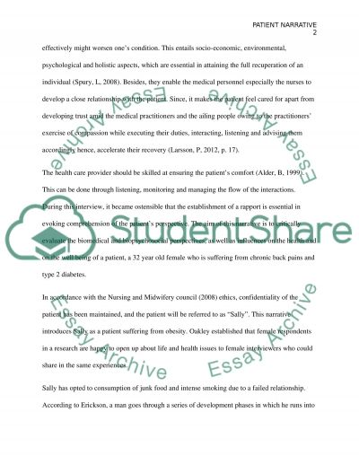 Patient narrative Essay example