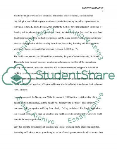 Patient narrative essay example