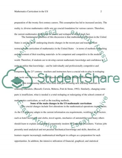 Mathematics Curriculum in the US
