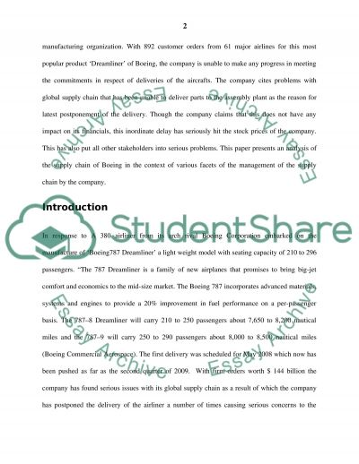 Supply Chain Management Issues in Boeing essay example