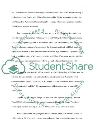 Toyota Marketing in China essay example
