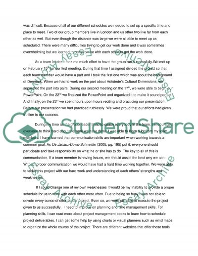 Individual reflection  about a presentation(denmark Coursework example