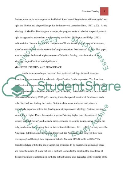 Manifest Destiny essay example