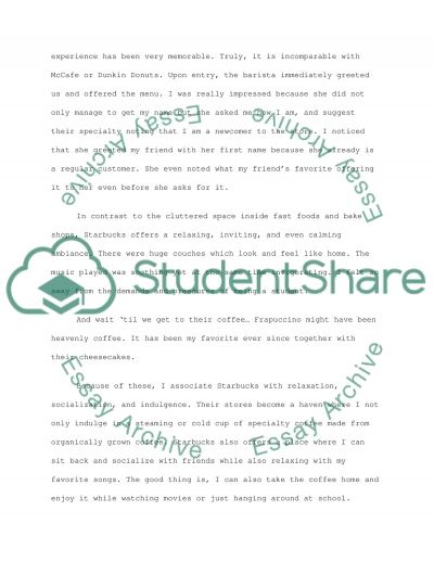 Starbucks Marketing essay example
