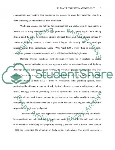 RESEARCH ISSUES IN HUMAN RSCOURCE MANAGEMENT essay example