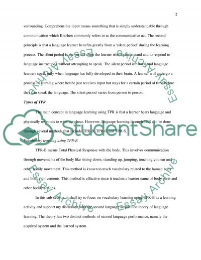 Language Learning Activities essay example