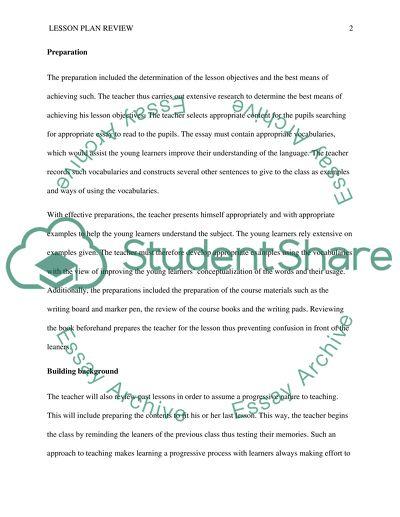Lesson plan review