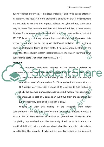 Executive Summary for 2012 Cost of Cyber Crime Study: United States essay example