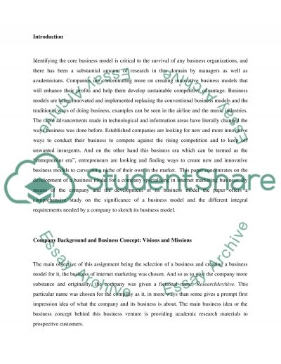 Business entities were identified and their relationships were represented in a Business Model essay example
