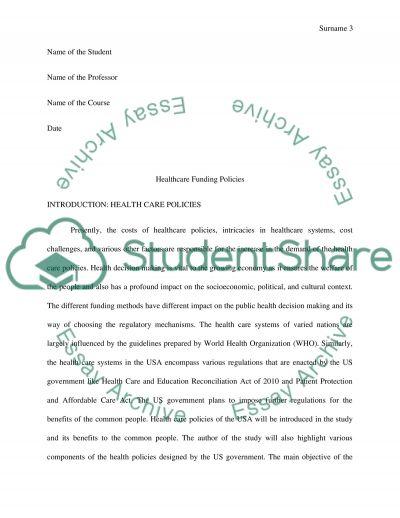 Case Study Healthcare Funding Policies essay example