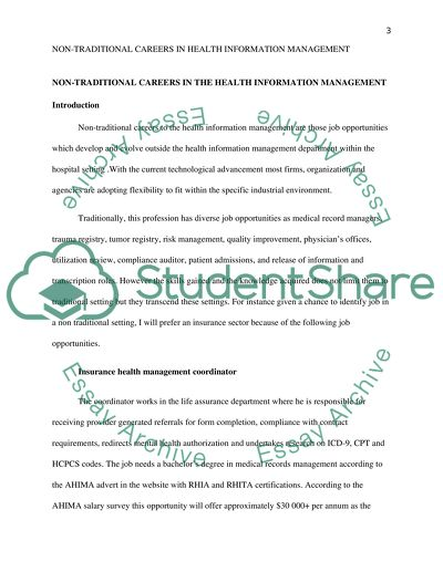 Non Traditional Careers In Health Information Management Admission