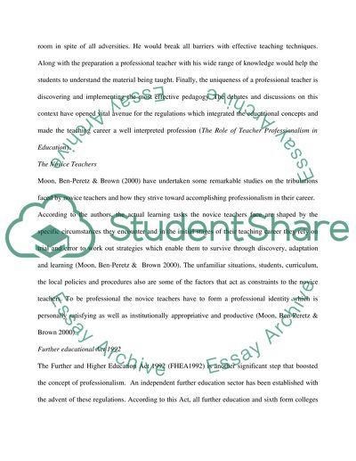 concept of professionalism essay