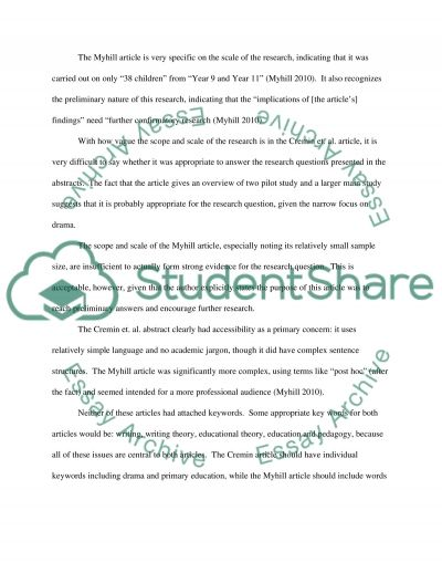 Educational Enquiry Education Article Analysis essay example