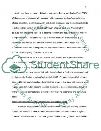 role of mentor in evaluating student learning essay  text preview