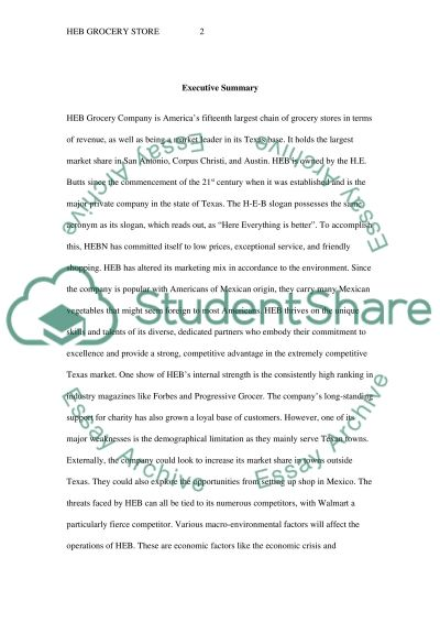 HEB Grocery Store essay example