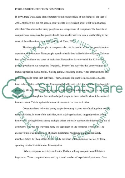 peoples dependence on computers essay example topics and well  peoples dependence on computers essay example text preview