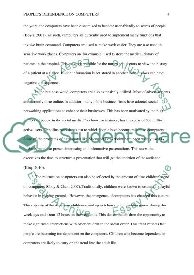 Peoples Dependence on Computers Essay Example | Topics and Well ...