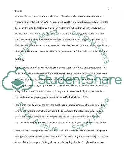 Case Study: A patient with type 2 diabetes essay example