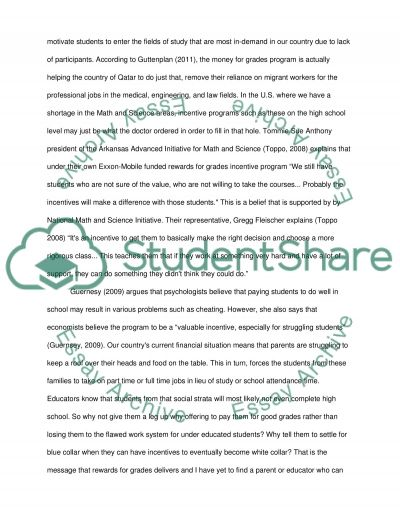 Students Should be Paid for Good Grades essay example