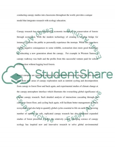 Canopy Research essay example