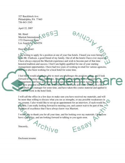 Cover Letter (English class essay example