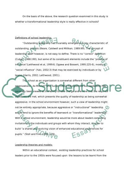 School leadership. Is transformational leadership really effective in schools