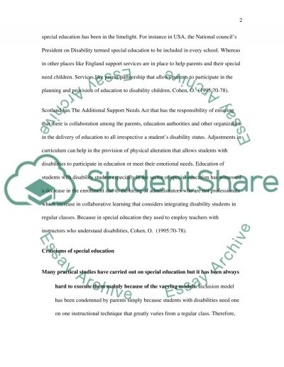 Inclusive and special education: disability issues and society essay example