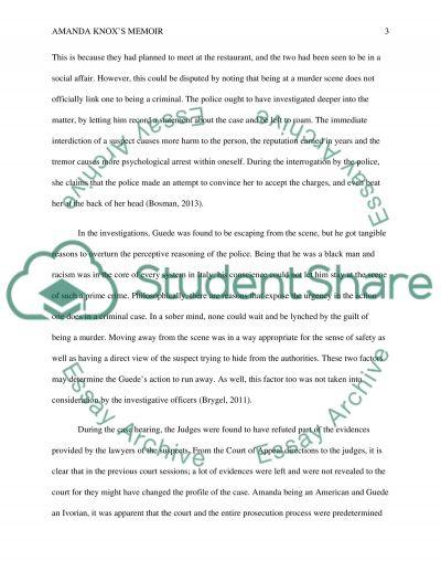 Applying ethics on Amanda Knoxs memoir essay example