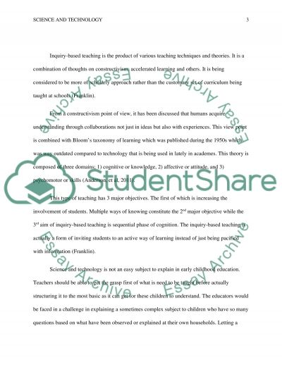 Science and Technology Education for young child essay example